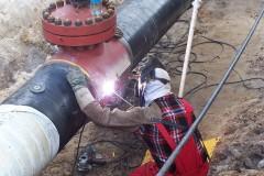 Spawanie Fittingów i króćców na gazociągu wysokiego ciśnienia DN 500.