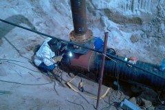 Spawanie Fittingu, bajpas na gazociągu wysokiego ciśnienia DN 500.